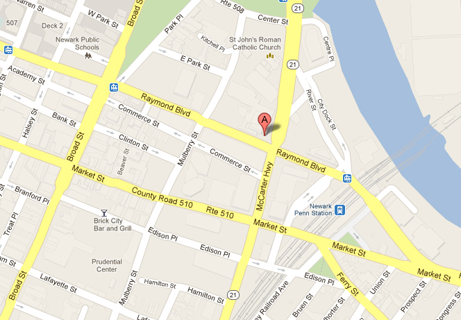 Map of downtown Newark NJ