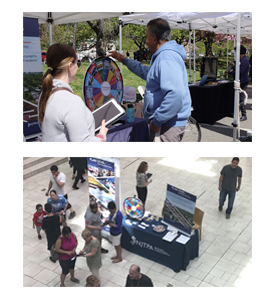 two pictures of public outreach activities