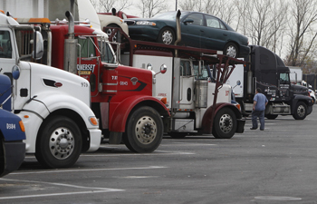 Trucks parked in a rest area