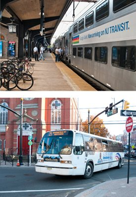 Collage - NJ Transit train at station and bus on street