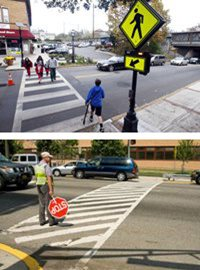 two pictures: pedestrians in crosswalk and crossing guard in crosswalk