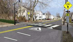 A rendering of a raised pedestrian and bicycle crossing that was included in the Eatontown complete streets report.