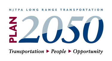 Logo that says, NJTPA Long Range Transportation Plan 2050: Transportation, People, Opportunity