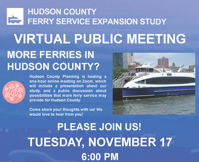 Hudson County Ferry Study graphic advertising one hour public meeting on November 17
